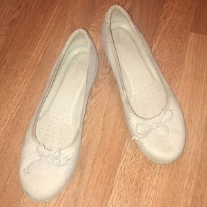 Ecco Textured Nubuck Leather Ballet Bow Shoes-10.5